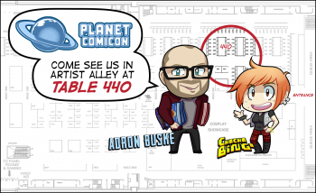 Adron Buske and Yashera Ames at Planet Comicon: map